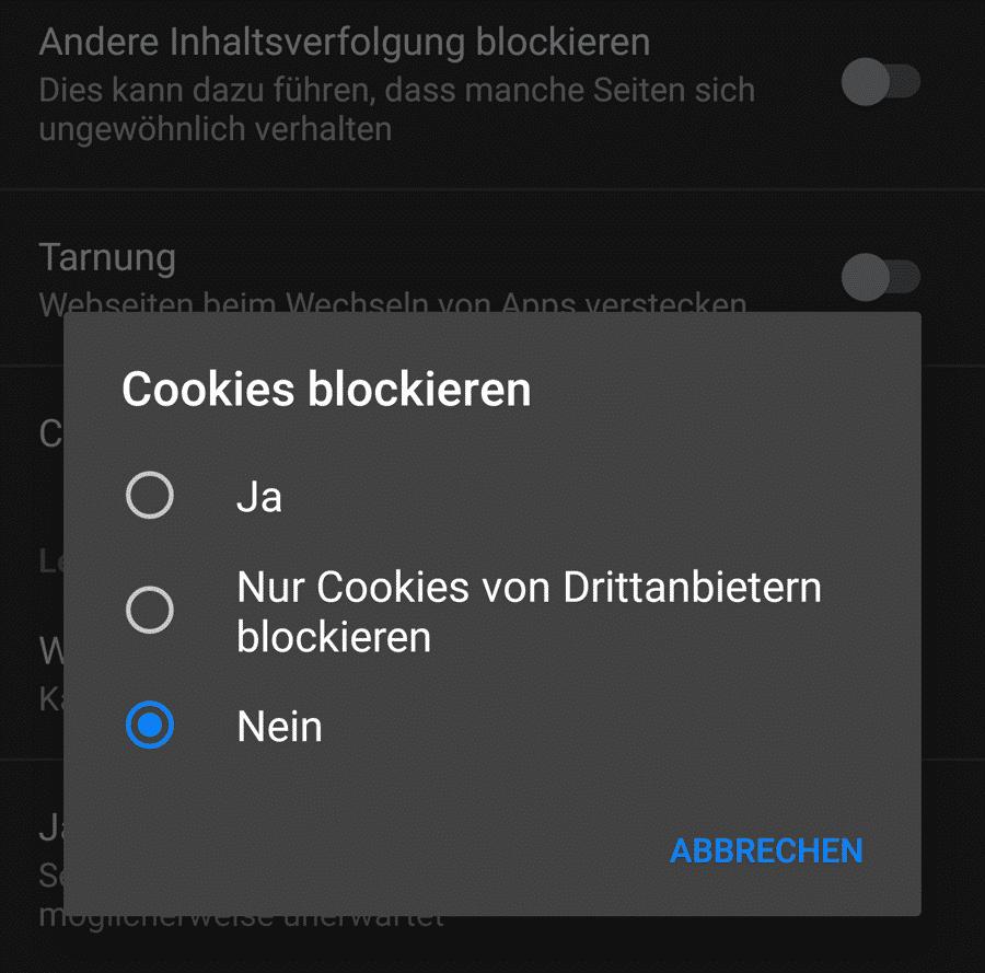 Alle, ein paar, keine: Ab Version 5.0 entscheidet der Nutzer, welche Cookies der Klar-Browser blockiert.