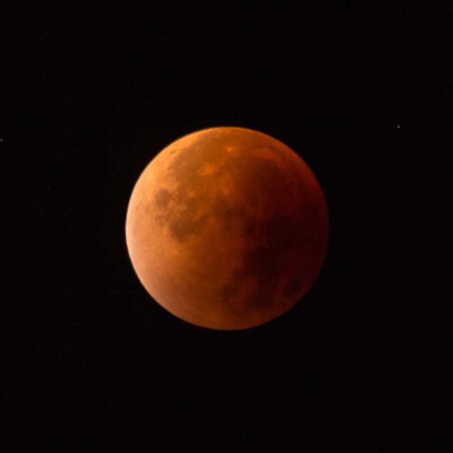 """Das Foto zeigt die Mondfinsternis 2015 als """"Blutmond"""". Die nur noch geringe Lichtmenge erforderte eine entsprechende Anpassung der Parameter. Die hier gewählte Belichtungszeit von einer Sekunde war für eine scharfe Abbildung allerdings schon zu lang."""