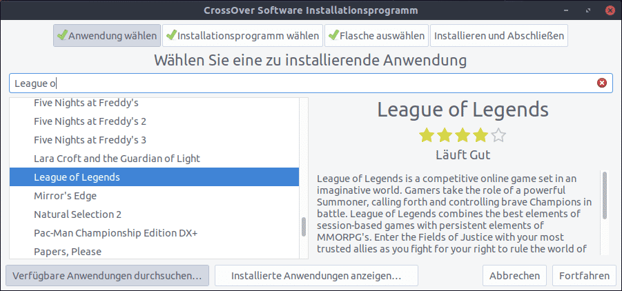 League of Legends mit Crossover unter Linux installieren