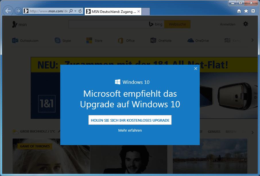 Jetzt auch im Internet Explorer: Werbung für Windows 10.