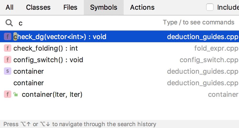 Das Search-Everywhere-Fenster umfasst nun alle Methoden der übergreifenden Suche.