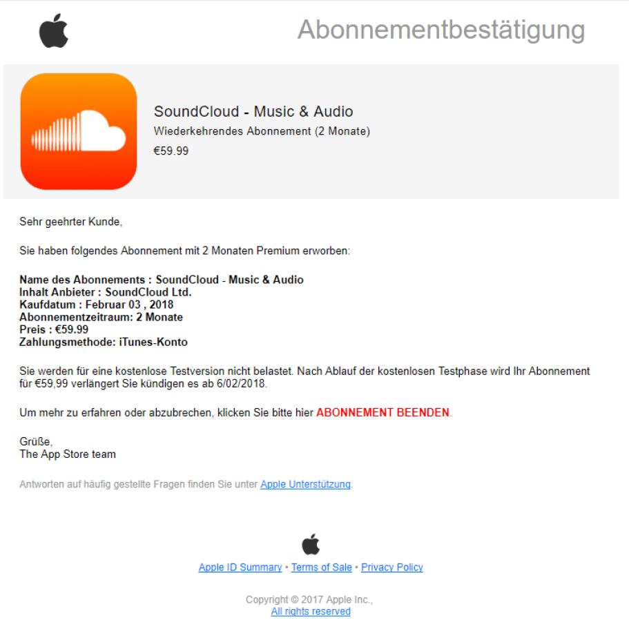 iCloud-Phishing per Aborechnung