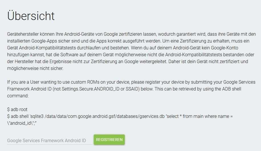 Das überarbeitete Registrationsformular für Smartphones mit Custom-Rom.