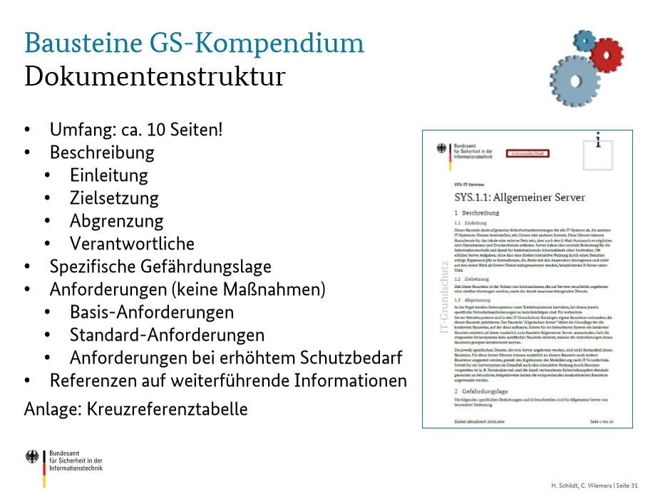 Beschreibung der Struktur eines Bausteins aus dem Grundschutz-Kompendium inklusive Beispiel.