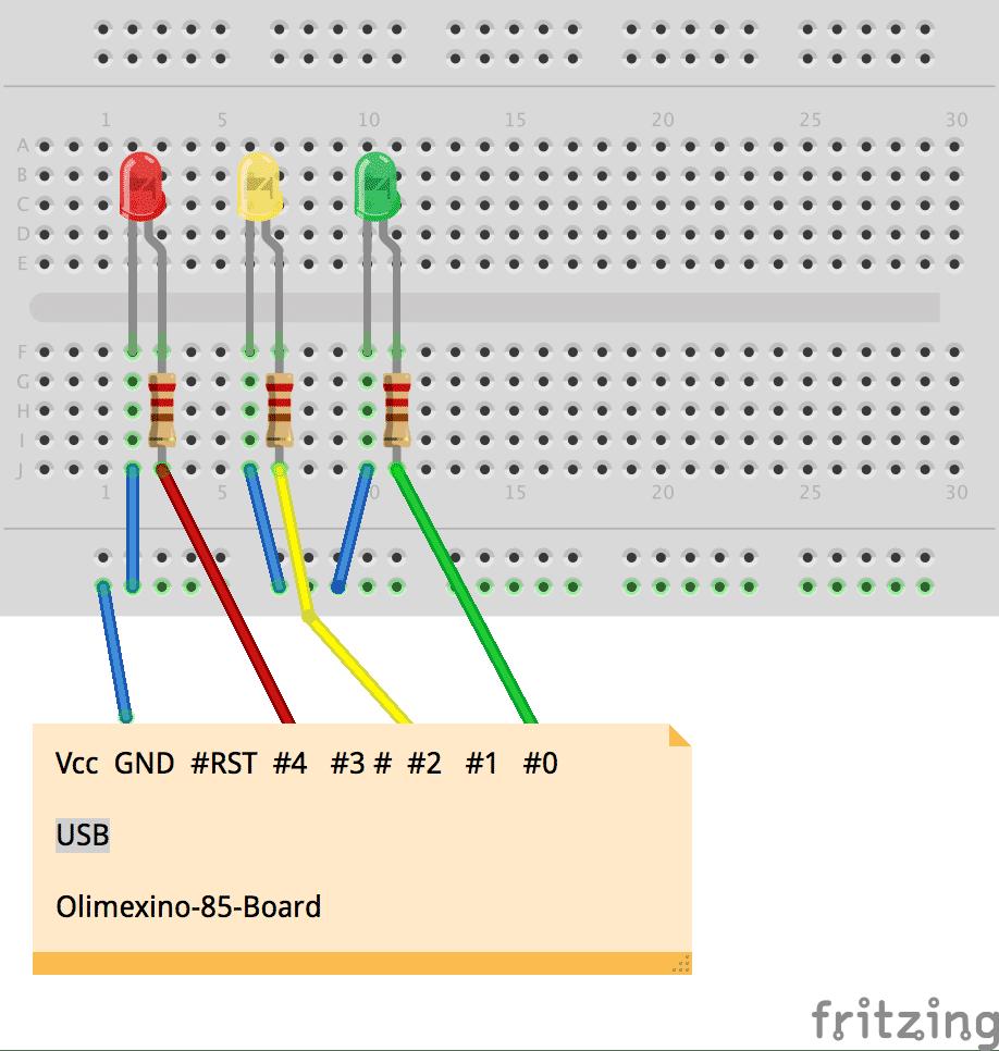 Einfache Ampelschaltung mit OLIMEXINO-85 (Board schematisch dargestellt)