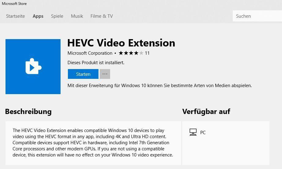 Nach dem Installieren der HEVC Video Extension laufen auch 4K-HEVC-Videos in der Filme&TV-App ruckelfrei -- kompatible Hardware vorausgesetzt.