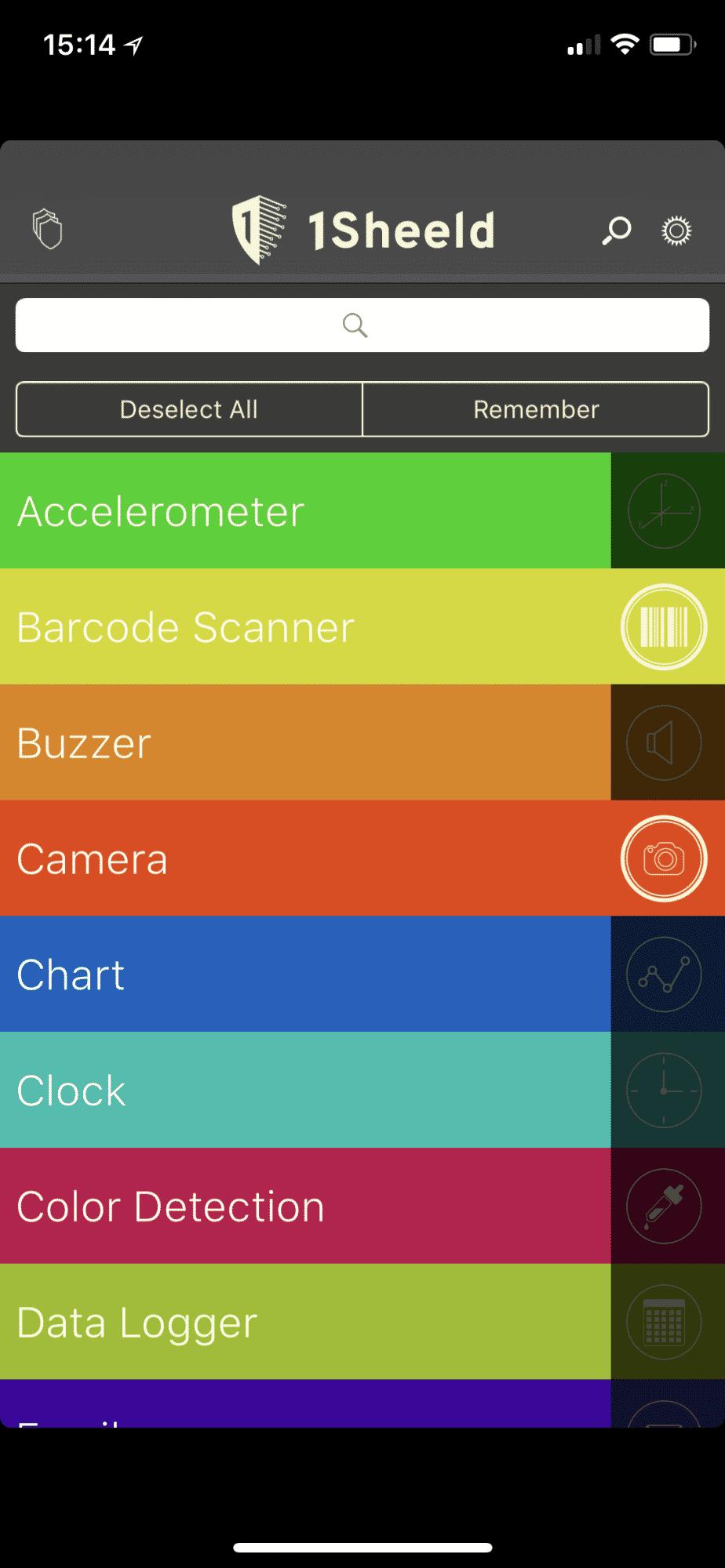 Nach erfolgreicher Kopplung kann der Benutzer alle gewünschten virtuellen Shields selektieren. Im vorliegenden Fall sind das die Kamera und ein Barcode Scanner
