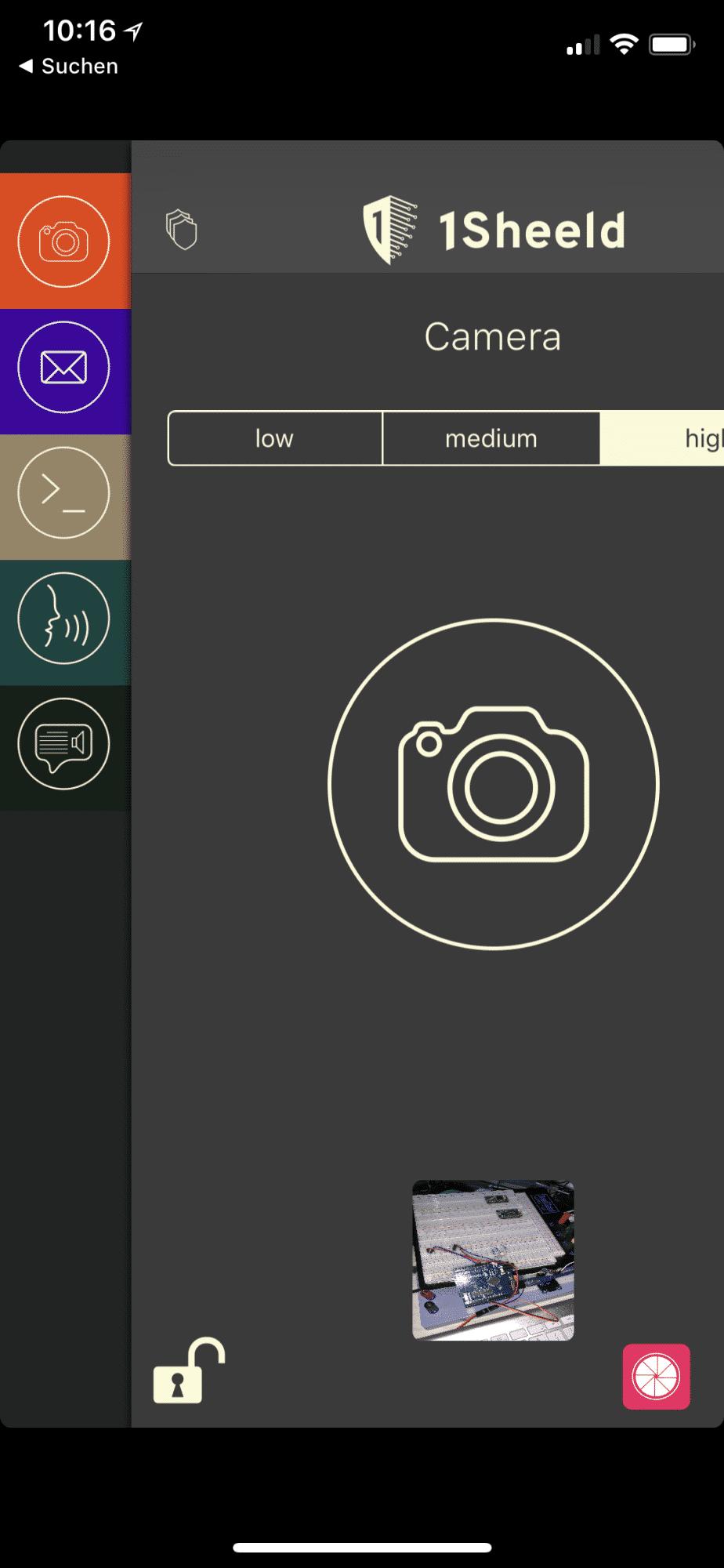 Schritt 2: Die benötigten Shields (Terminal, EMail, Camera, Voice Recognizer, Text-to-Speech) wurden in der App ausgewählt