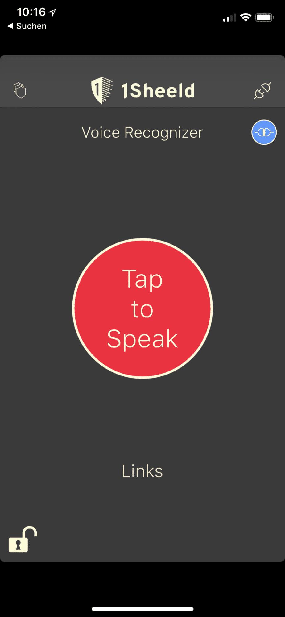 """Schritt 3: Die App hat im Voice Recognizer den Befehl """"links"""" erkannt"""