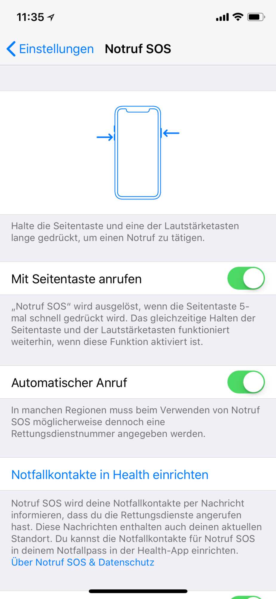 iPhone X Notruf