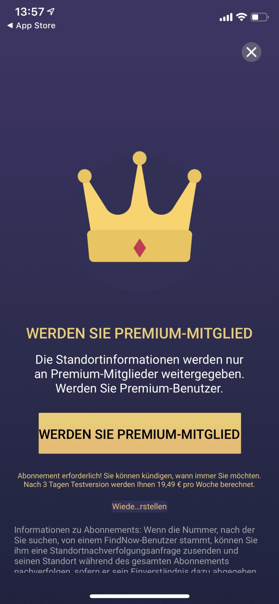 Der Hinweis auf die Premium-Mitgliedschaft erscheint unmittelbar –und führt unaufmerksame Nutzer direkt ins teure Abo.