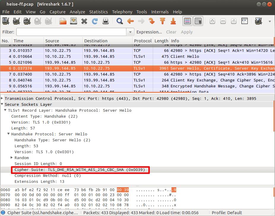 In Wireshark kann man den Verbindungsaufbau Schritt für Schritt verfolgen.