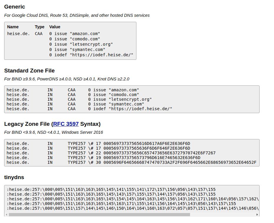 Ein Dienst von SSLmate liefert passende CAA-Vorlagen.