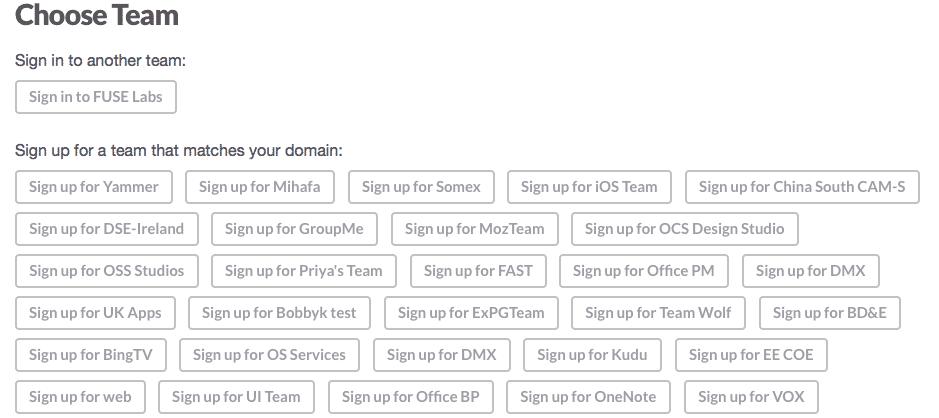 Diese Namen der Slack-Teams bei Microsoft ließen sich ohne Anmeldung abrufen.