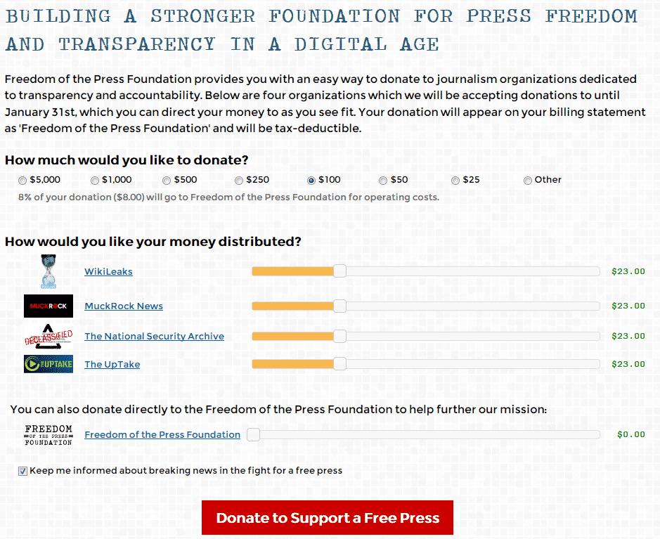 Die Spenden-Seite der Freeodom of Press Foundation