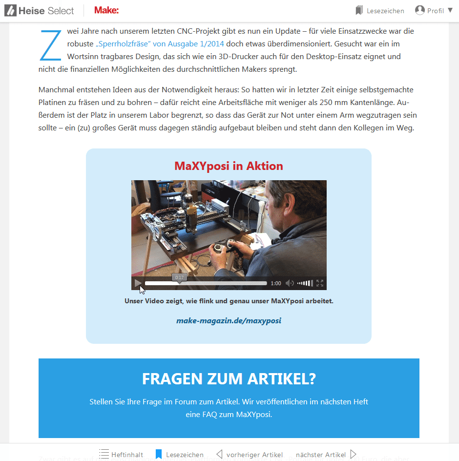 Screenshot von heise select mit dem Beispiel: Video im MaXYposi-Artikel