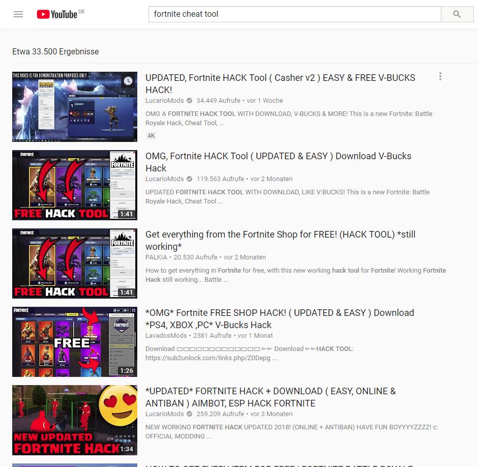 Bei YouTube wimmelt es nur so von vermeintlichen Cheat-Programmen für angesagte Spiele wie Fortnite.