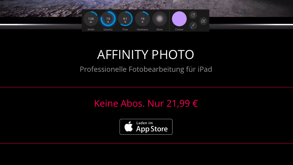 Photoshop-Alternative Affinity Photo hält Preis für iPad-App unten