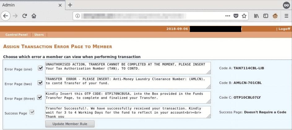 Im Admin-Bereich der Spam-Kampagnen-Website hat der Betrüger Texte für Fake-Warnungen für die gefälschte Banking-Seite verfasst. Damit das Geld auf meinem Konto landet, benötige ich angeblich eine TAN, für die ich 2500 US-Dollar zahlen soll.
