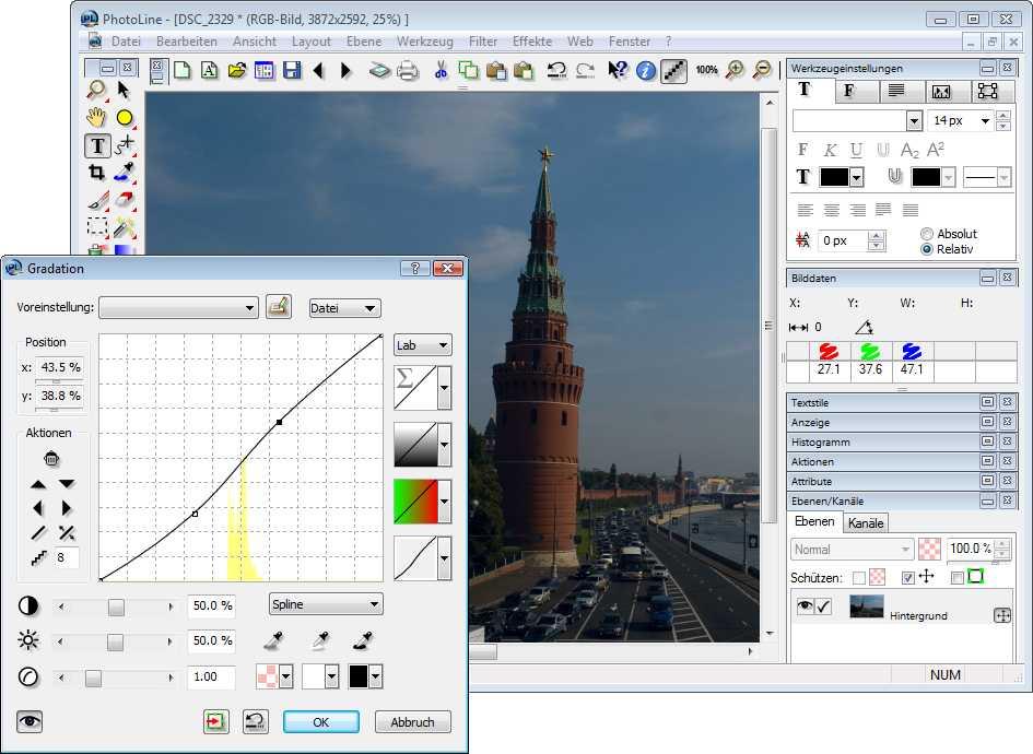 PhotoLine 15 erhält neu geordnete Dialoge und eine Gradationskurve, die außer im RGB- auch im Lab-Modus arbeitet.