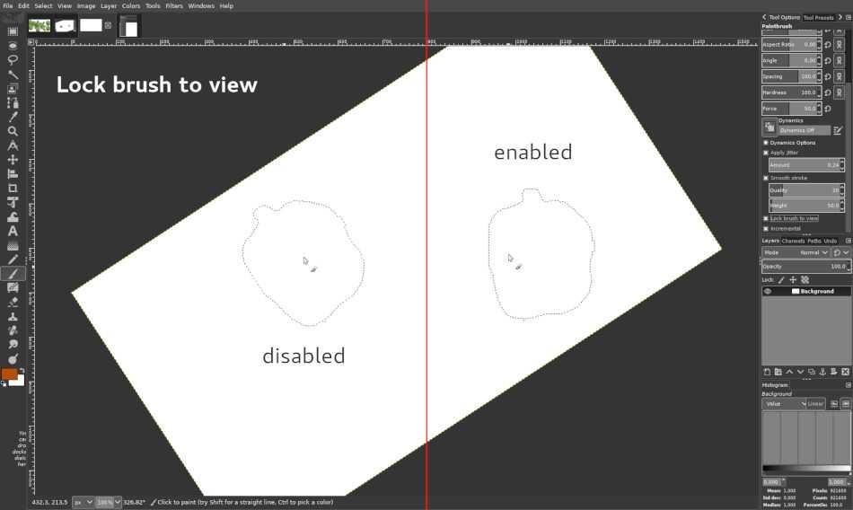 Die Arbeitsfläche lässt sich rotieren; Pinsel bleiben dabei auf Wunsch in Standardstellung.
