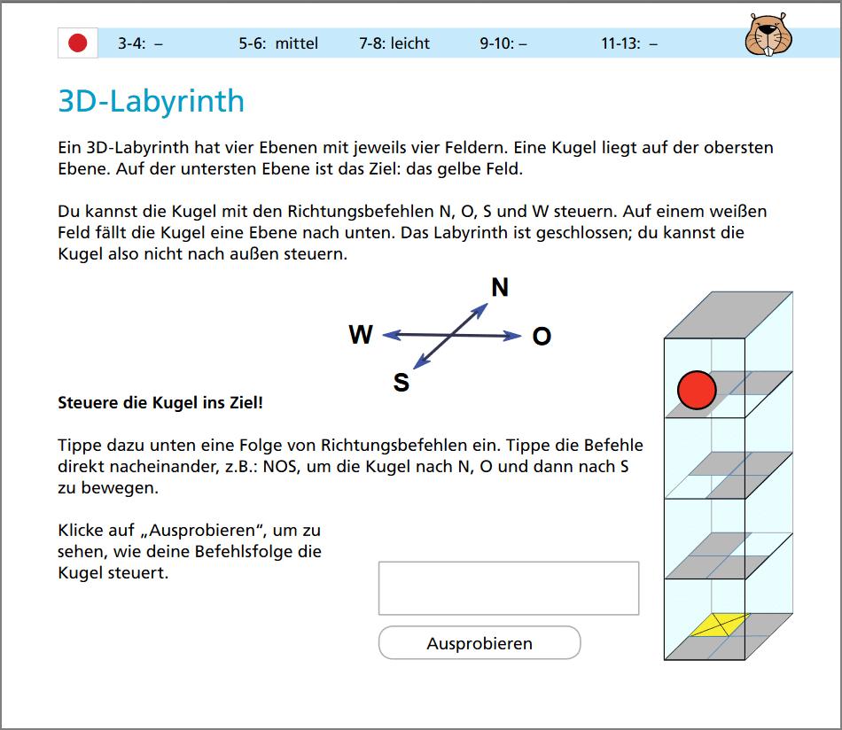 Eine Beispielaufgabe aus dem Informatik Biber 2016.