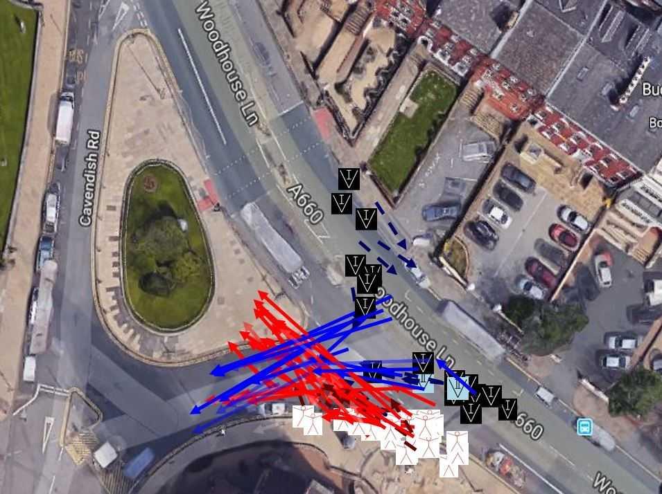 Luftbild einer Kreuzung mit eingezeichneten Pfeilen