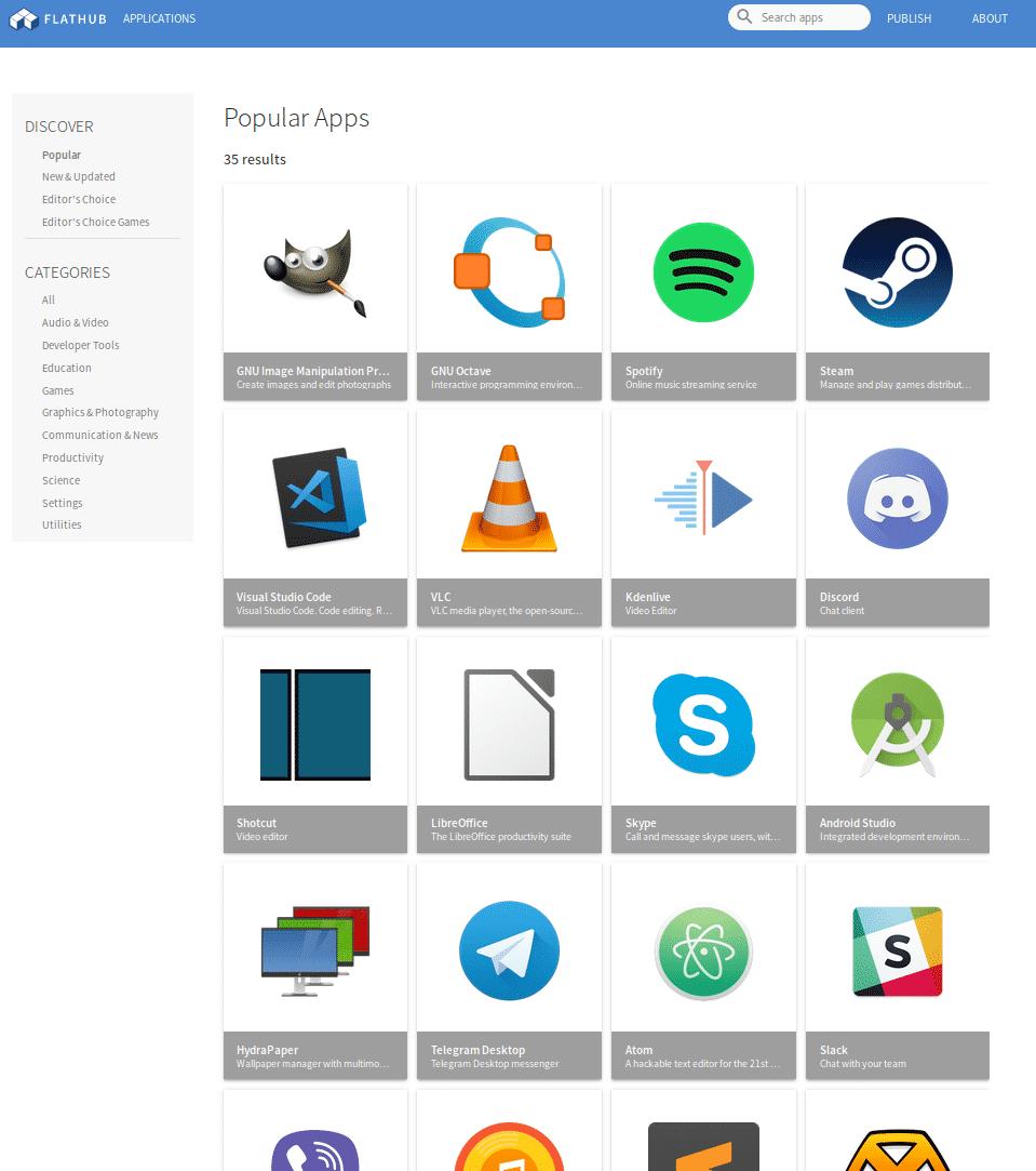 Der Flathub bietet zahlreiche quelloffenen und proprietären Programme als Flatpak an.