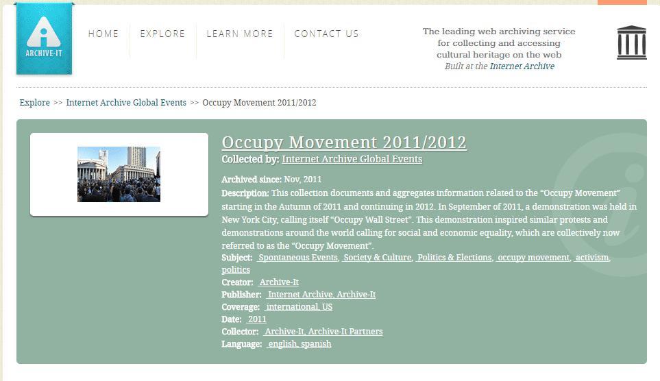Archive.org hat Websites der Occupy-Bewegung gesammelt, die auf ihre Erfoschung warten.