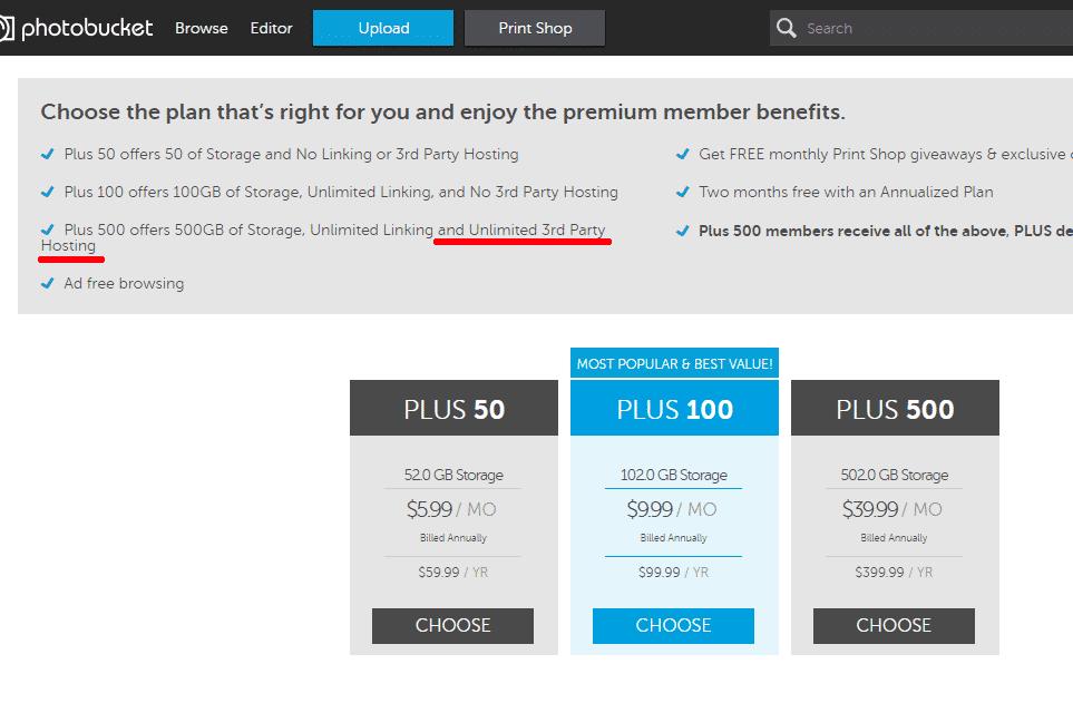 """Das neue Preismodell von Photobucket: Erst das """"Plus 500""""-Paket erlaubt auch """"3rd Party Hosting"""". Es kostet satte 400 US-Dollar im Jahr."""