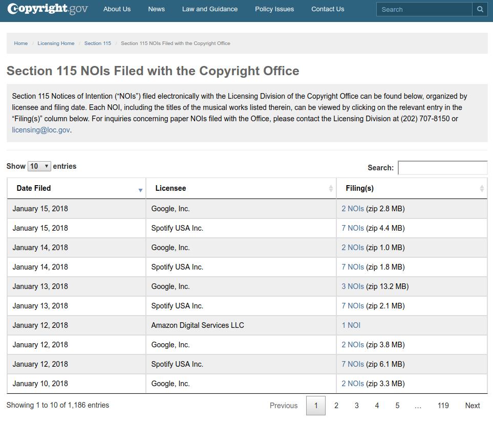 Screenshot Copyright.gov