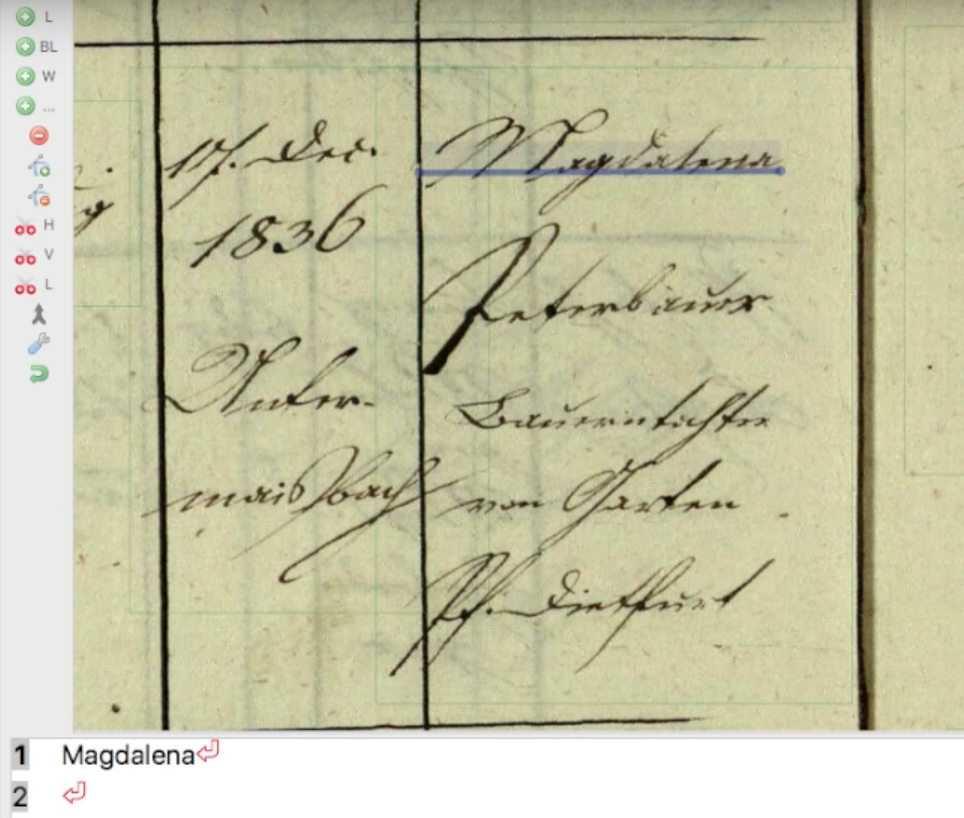 """Transkribus entziffert eine """"Magdalena""""."""