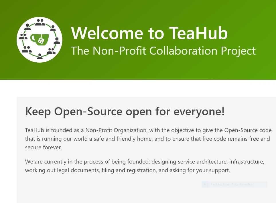 Startseite der Teahub-Seite