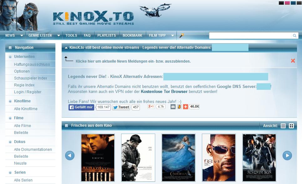 """""""Legends never die""""? Monate nach der Razzia bei Betreibern des Filmportals Kinox.to ist die Seite noch online."""