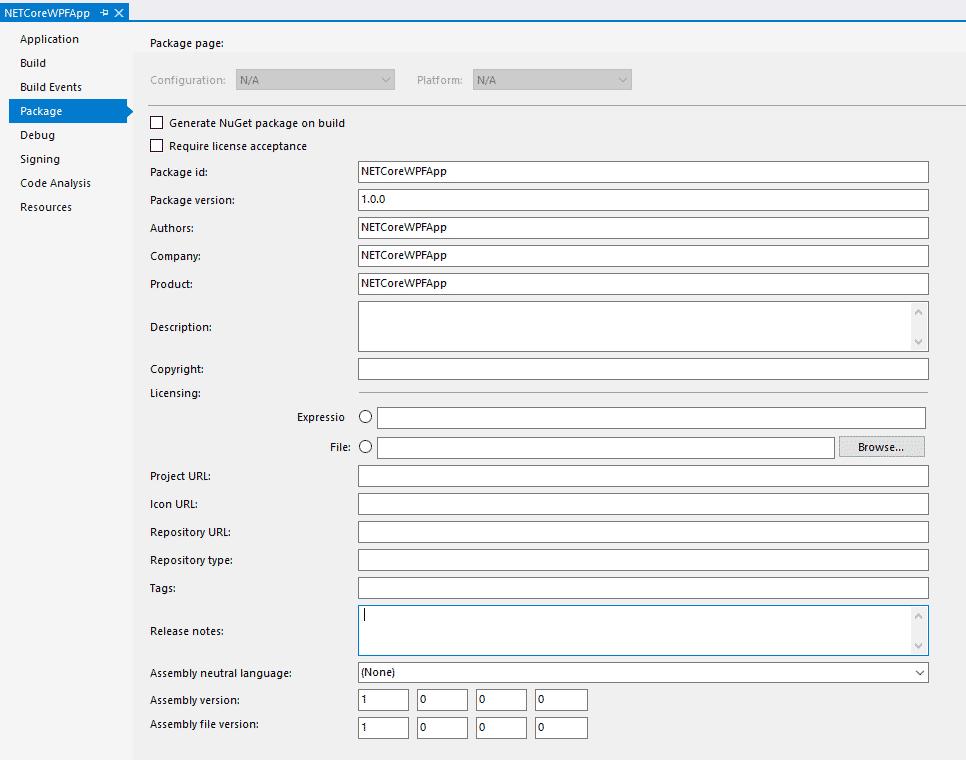 Package-Eigenschaften eines .NET Core-Projekts