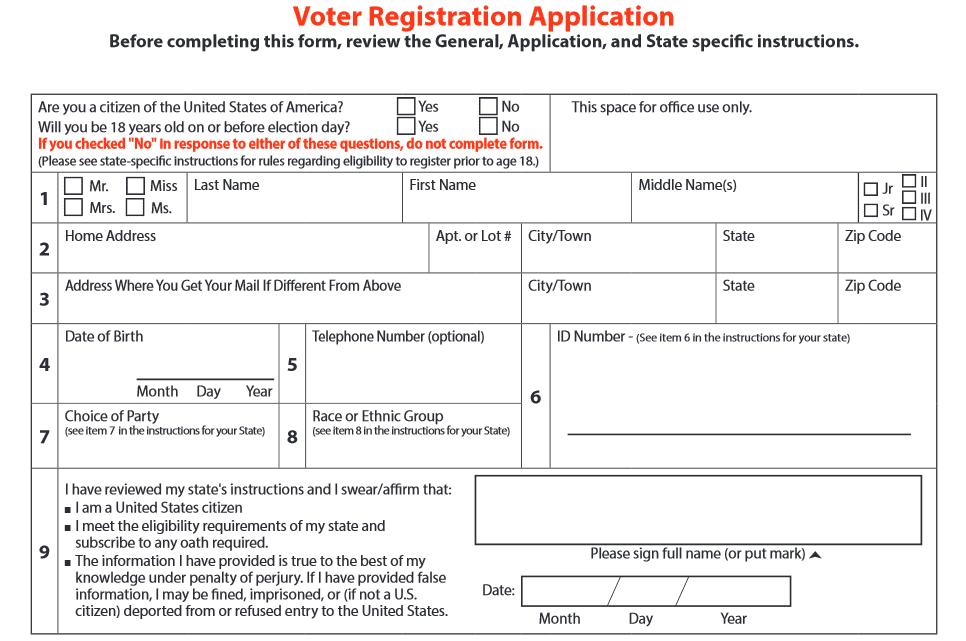 Das Registrierungsformular für US-Wähler: Diese und andere Daten sind an die ÖFfentlichkeit gelangt.