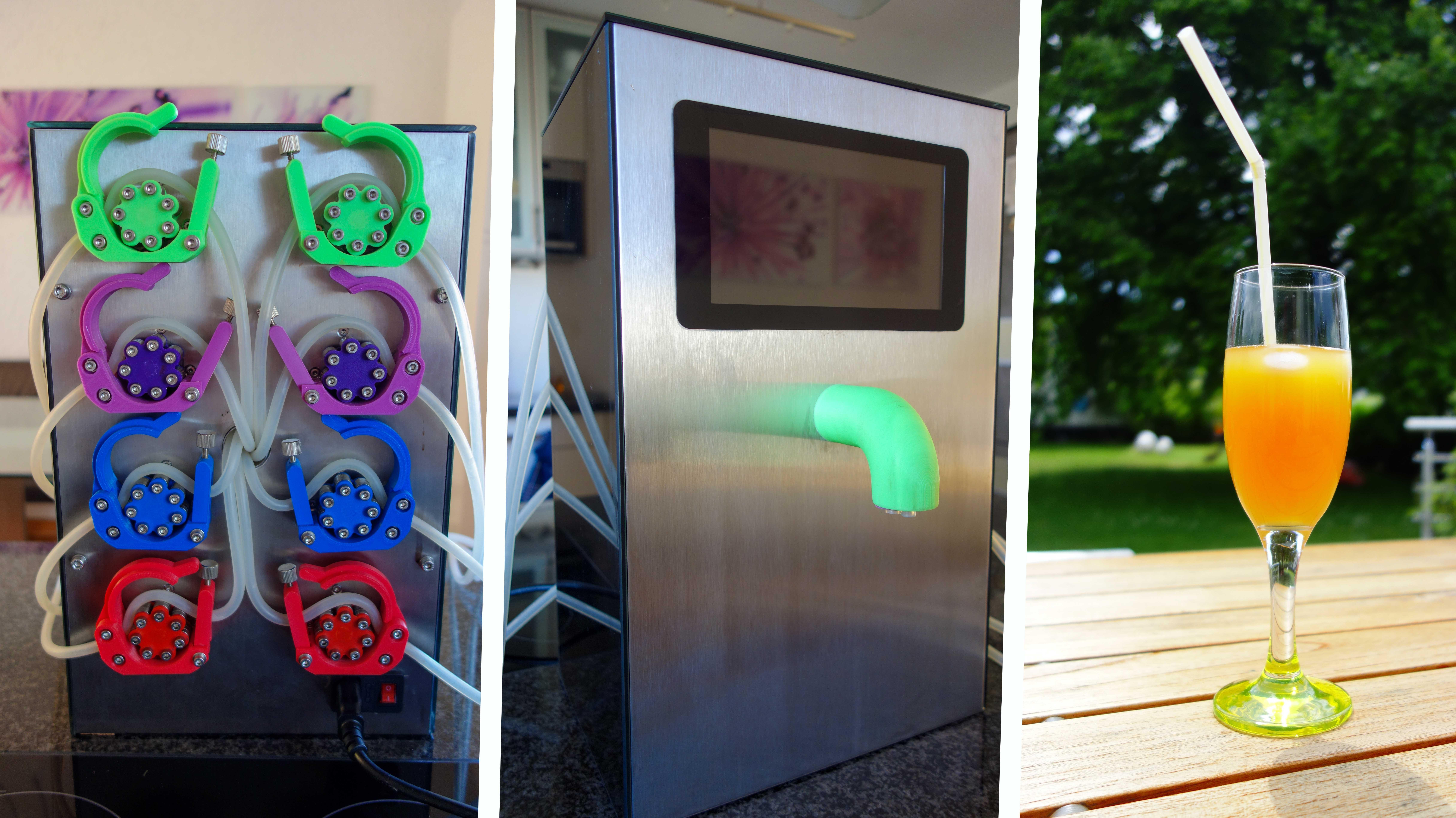 Cocktailmaschinen-Collage der Rückseite mit Schlauchpumpen, Vorderseite mit grünem Ausguss und Display sowie einem Glas mit Saft.
