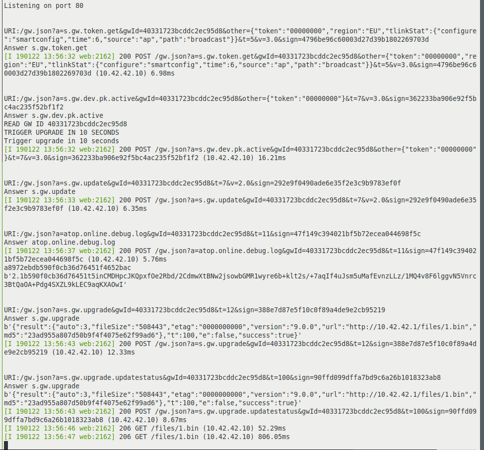 Das Tuya-Convert Skript simuliert eine Umgebung wie sie Tuya sonst zur Provisionierung der Geräte bereitstellt. Hier die Ausgaben des Webservers.
