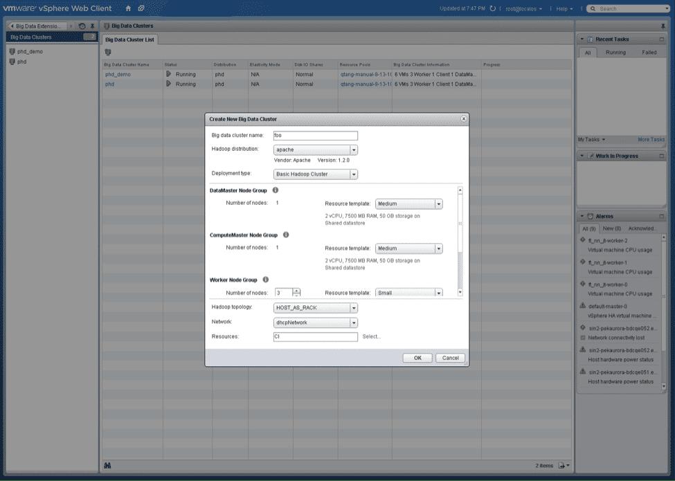 Big-Data: vSphere-Client-Screenshot