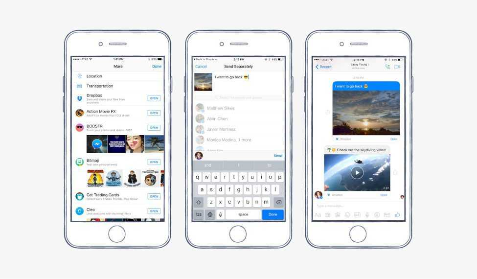 Dropbox-Nutzer können Fotos, Videos und andere Dateien direkt über den Facebook Messenger versenden.