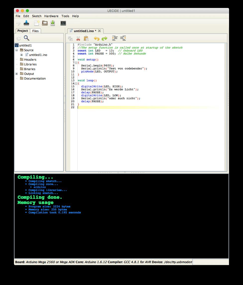 Umgebung UECIDE beim Kompilieren eines Arduino-Sketches
