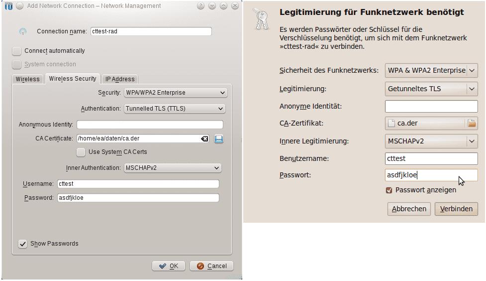 Opensuse 11.2 (links, mit dem NetworkManager als Netzwerkverwalter) und Ubuntu 9.10 fassen die Einstellungen für Radius-geschützte WLANs in einem Formular zusammen. Auch hier muss das Stammzertifikat auf dem lokalen Massenspeicher bereitliegen.
