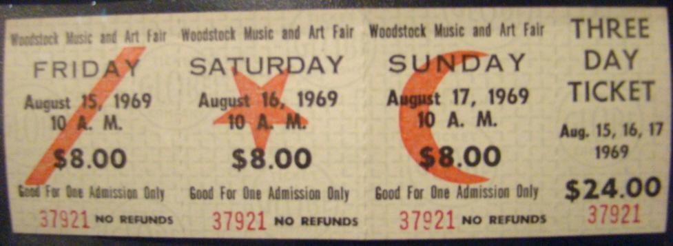 Woodstock-Eintrittskarte 1969