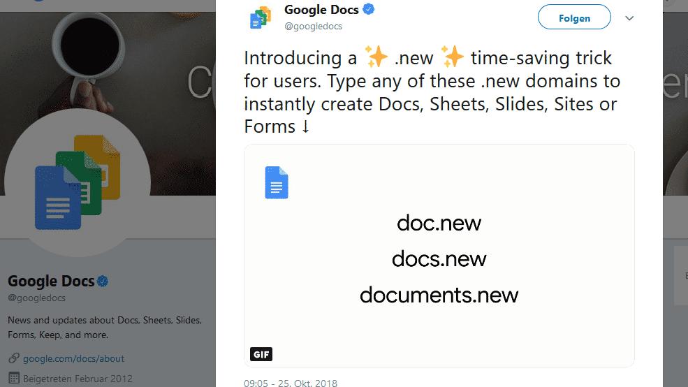 Schneller zum Google-Dokument