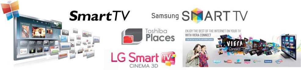 Mit einem bunten Logo-Reigen weisen die Hersteller auf ihre smarten Fernseher hin.