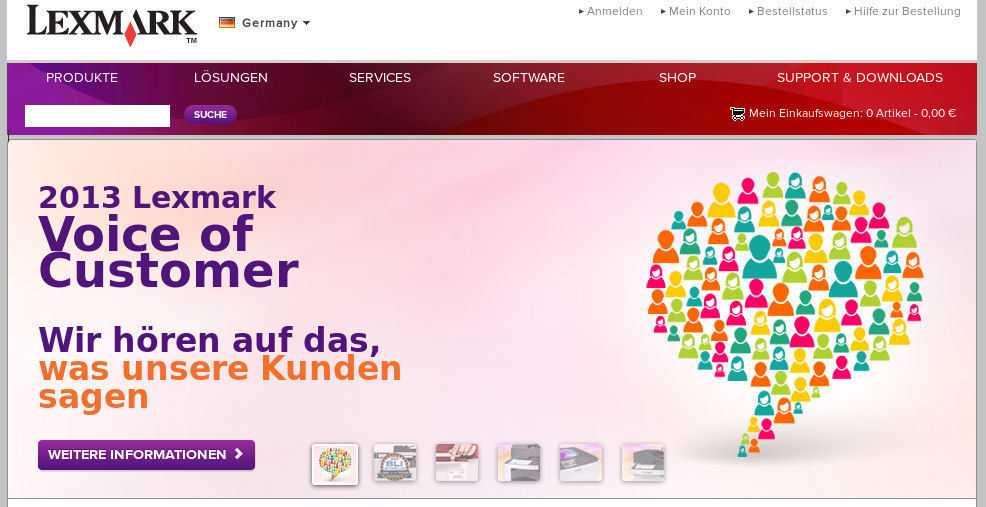 """Screenshot: """"2013 Lexmark Voice of Customer: Wir hören auf das, was unsere Kunden sagen."""""""