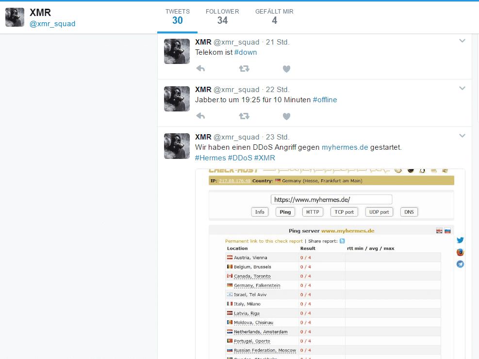 Auf ihrem Twitter-Account informieren die Hacker über ihre Angriffe.