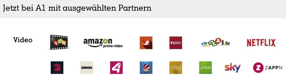 """""""Jetzt bei A1 mit ausgewählten Partnern"""", darunter Logos bestimmter Videostreaminganbieter"""