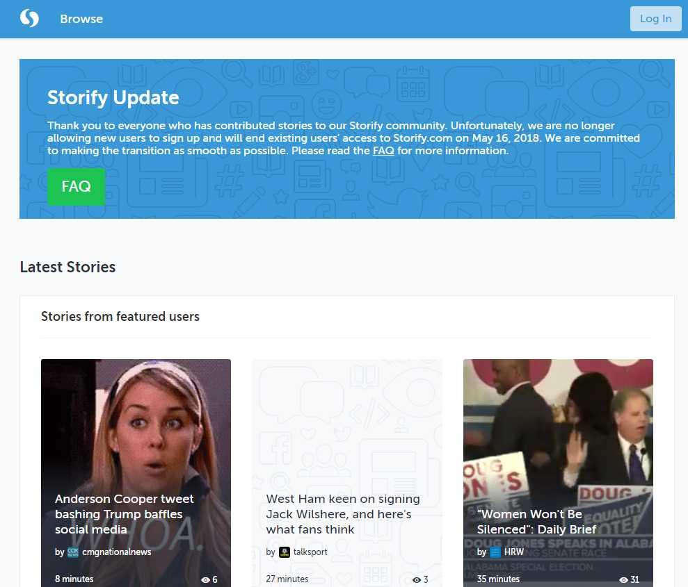 Endliche Geschichte: Am 16. Mai schließt Storify. Bis dahin können die Nutzer noch Geschichten aus Tweets und Facebook-Einträgen zusammenstellen.